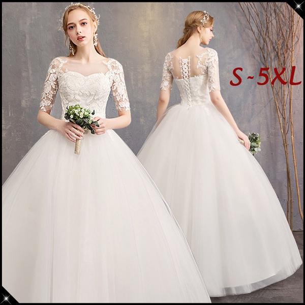 968c5601e 2019 New Women Fashion Wedding Dress Half Sleeve Elegant Bridal ...