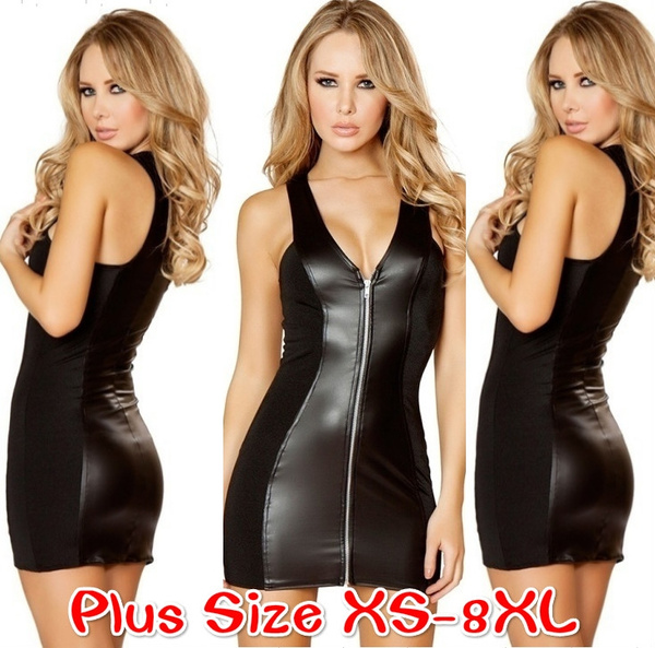 Women Latex Dress Zipper Sleeveless V-neck Summer Clubwear Outfits Party  Black Leather Dresses Plus Size XS-8XL