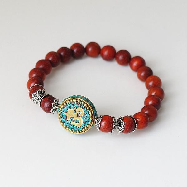 Red Wood Beads Strand Charm Chakra Mala
