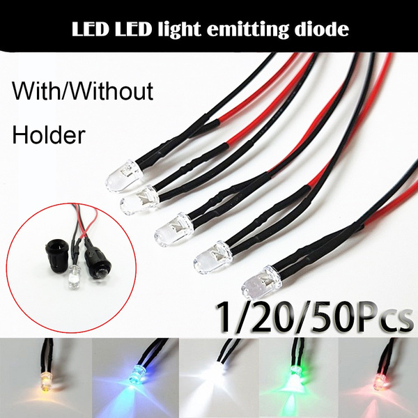 20 x LED Wired Diodes Plastic Holder Wired Warm White Clear Lens 24V 5mm