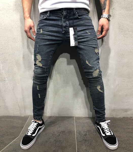 Jamickiki New Spring And Autumn Fashion Mens Street Style Ripped Hole Denim Jeans Mens Skinny Denim Pants. by Wish