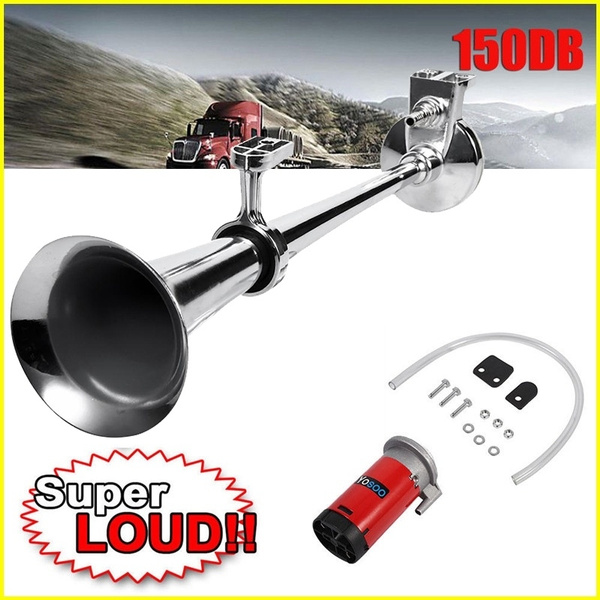 150DB Super Loud 12V Single Trumpet Kit Air Horn Compressor Truck Boat Lorry