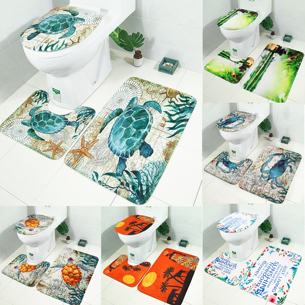 Fine 3Pcs Set Non Slip Bathroom Rug Set Toilet Seat Cover Bath Mat Decor Sea Turtle Crab Bamboo Sunshine Exotic Customs Lamtechconsult Wood Chair Design Ideas Lamtechconsultcom