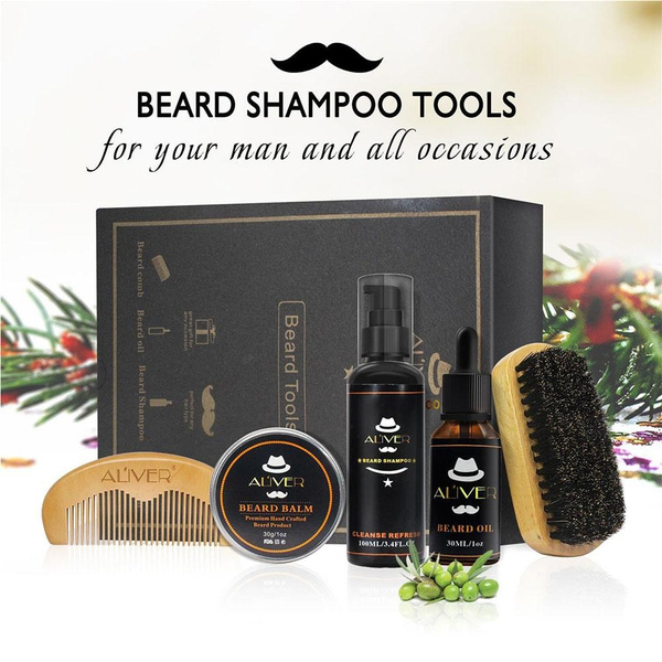 Beard Care Gift Kit for Men 5 PCs Beard Grooming Kit- Beard Shampoo + Beard  Brush + Beard Comb + Beard Oil Leave-in Conditioner + Mustache Balm for