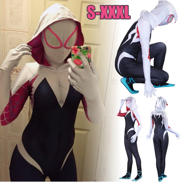 Spider Gwen Stacy Costume Spandex Female Spiderman Costume Cosplay Without Mask