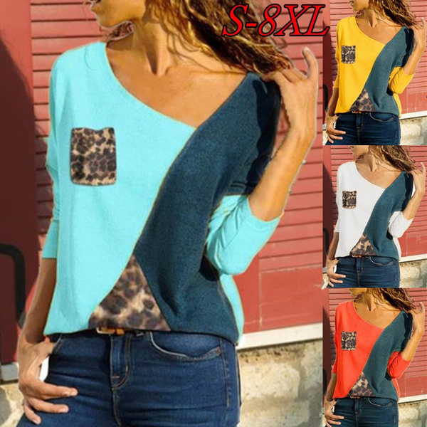 ce922783b471 Women's Fashion Casual Autumn and Winter O-neck Long Sleeve Shirt Ladies  T-shirt Pockets Loose Cotton Leopard Print Stitching Tops Pullover Shirts  ...