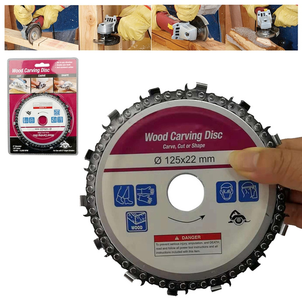 UK Chain Disc Wood Cut Saw Blade 125mm 14 Teeth for 22mm Arbor Angle Grinder