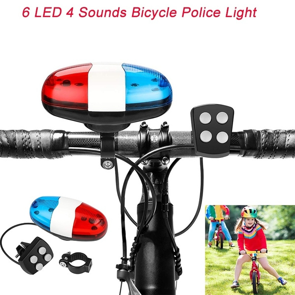 Super Loud Bicycle Police Light Bike Cycling Horn Bell Siren - Warning  Safety Light 6 LED Light 4 Sounds Trumpet Waterproof Bicycle Lights  Accessories