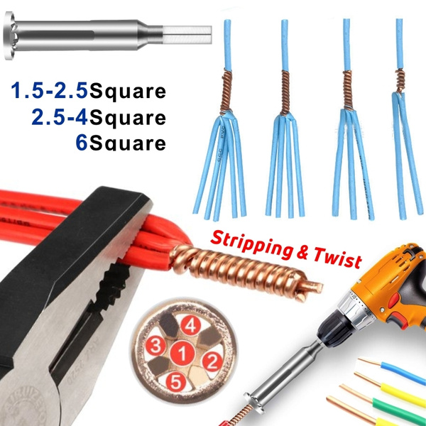 5 Wires 2.5 Square Cable Wire Twisting Connector Power Drill Driver Twist Tool