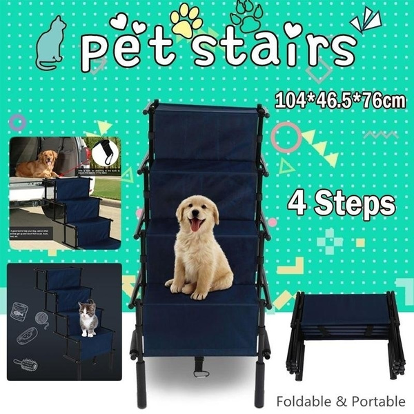 Pet Stairs 4 Step Portable Dog Ladder In/Out Door Cat Ramp Steps Stair  Climbing
