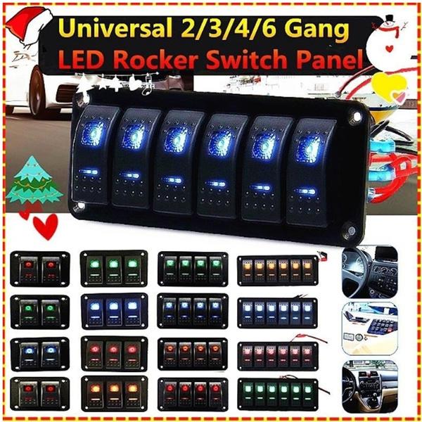 6Gang Marine Boat Yacht Blue Light LED Rocker Switch Panel 12V-24V Universal