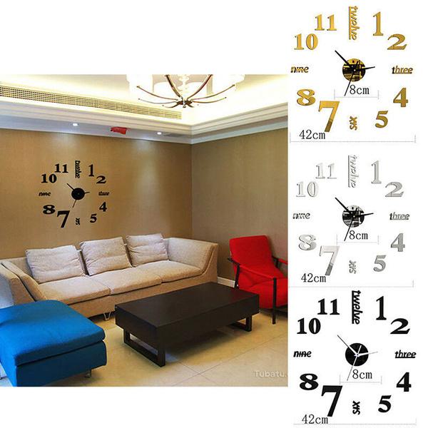 Home & Kitchen, Decor, cutegift, acrylicmirrorwallclock