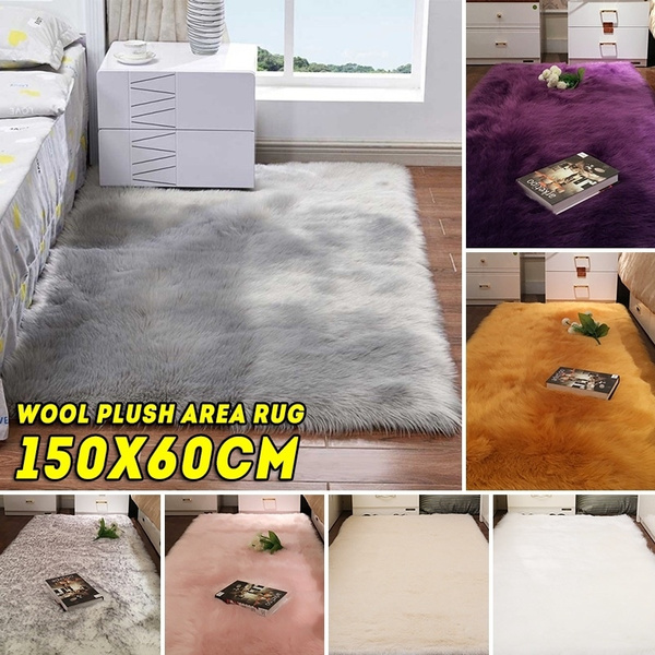 Fluffy Rugs Blankets For Living Rooms Wool Plush Rug Soft Shaggy Carpet Home Floor Warm Area Mat Decor Wish