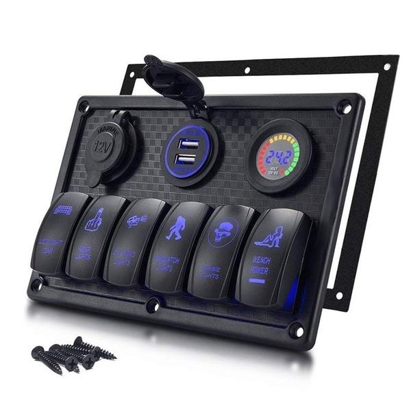 6-Gang Car Marine Boat Waterproof Rocker Switch Panel Voltmeter Car USB Charger