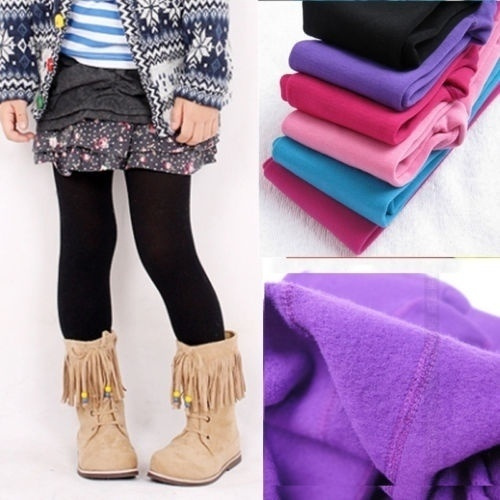 6671614821c Winter Fashion Girls Leggings Footed Tights Stockings Opaque Solid ...