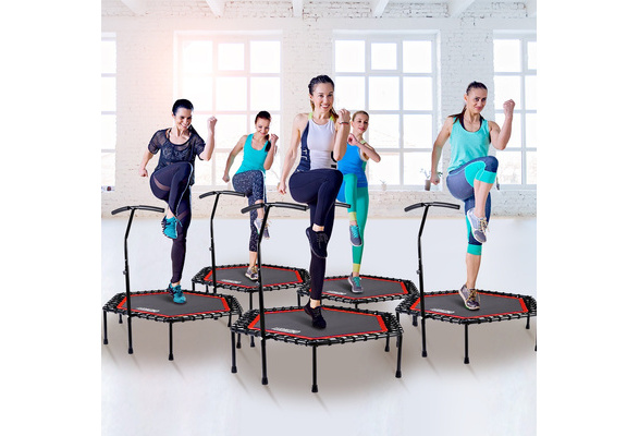 ONETWOFIT 48 Silent Mini Trampoline with Adjustable Handle Bar Fitness Trampoline Bungee Rebounder Jumping Cardio Trainer Workout for Adults or Kids