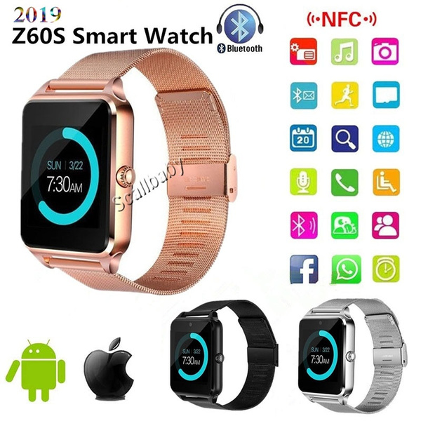 2019 New products Z60 PLUS Bluetooth Smart Watch Phone Pedometer Sedentary  Remind Sleep Monitor Remote Camera compatible with Samsung,Xiaomi