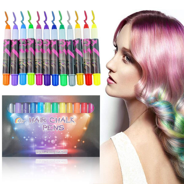 12 Color Temporary Hair Chalk Gift Set for Kids Colorful Temporary  Non-Toxic Portable Hair Coloring Chalk Pens Christmas Birthday Gifts  Present for ...