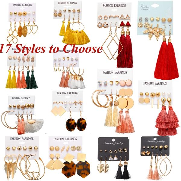 earrings studs, longtasselearring, Tassels, Fashion