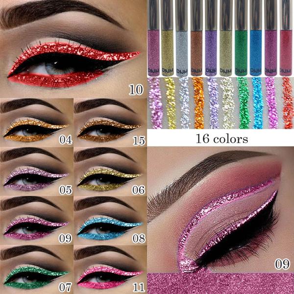 f65253bcd65c2 Brand DNM glitter eyeliner shimmer eyeshadow Professional Cosmetics 16  Color Waterproof Pigment Silver Gold Metallic Liquid Glitters Makeup  Eyeliner ...