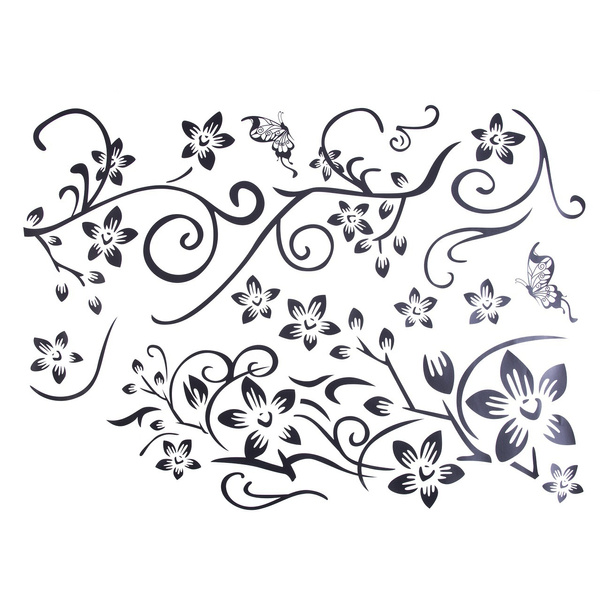 Beautiful DIY Decor Black Flowers Removable Wall Stickers Wall Decals Mural  Home Art M