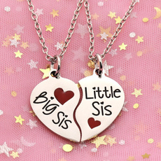 Heart, bff, lilbigsister, necklace for women