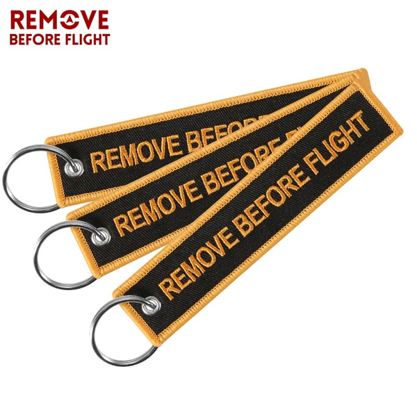 Newest Car Keychain Embroidery Remove Before Flight llavero moto Key Chain  Key Ring Key Holder 3PCS/lot