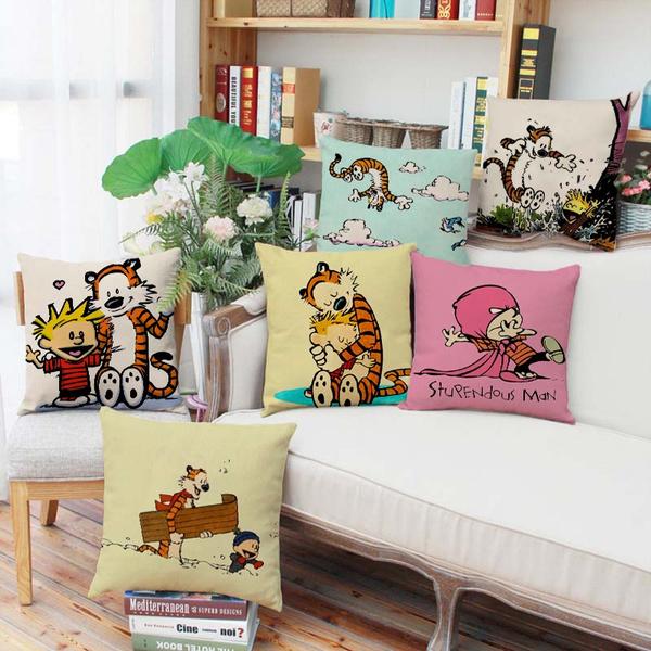 Calvin and Hobbes Throwpillow Cartoon Tiger Pillowcase Cute Hobbes  Pillowcover Home Decor Car Cushion Cover Sofa Throw Pillowcase Bedroom  Pillow ...