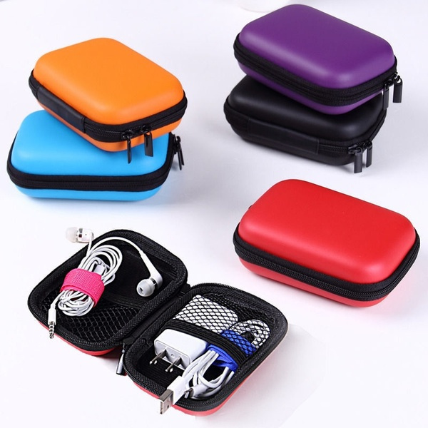 Earphone Pocket Headphone Earbud Carry Storage Bag Charger Hard Holder Case by Wish