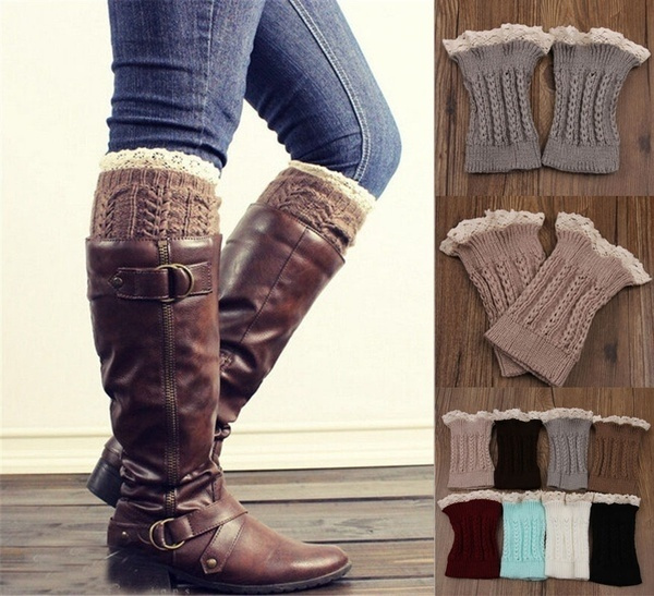 Girls Ladies Lace Trimmed Boot Cuffs Knitted Leg Warmers 4 Colors to choose from