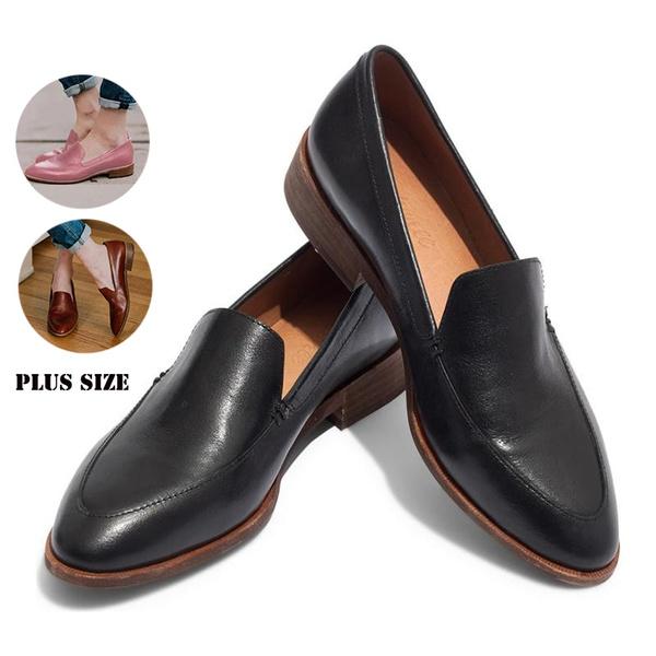 73c3368b96f Fashion Women Leather Shoes Women Business Work Low Heel Shoes Ladies  Office Interview Shoes Casual Flat Heel Black Dress Shoes Women Low Heel ...
