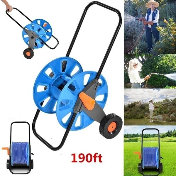 190 Ft Portable Garden Water Hose Pipe Reel Holder Trolley Cart For  Watering Garden Truck Tool