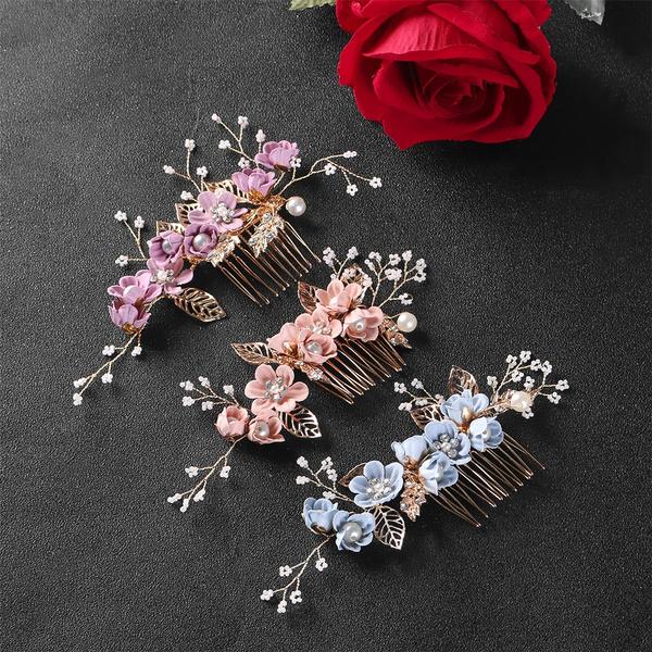 Wedding Crystal Crown Leaves Tiara Flower Hair Pin Hair Combs Bridal Clips