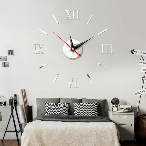 Modern Large Wall Clock Kit DIY 3D Mirror Surface Sticker Home Office Room Decor
