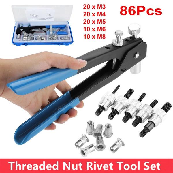 86 PCS Threaded Nut Rivet M3-M8 Insert Tool Riveter Rivnut Nutsert Riveting Ki t