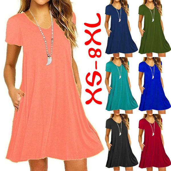 Plus Size XS-8XL Women\'s Fashion Spring Summer Tunic Dresses Casual Short  Sleeve Slim Fit Beach Wear Ruffles Party Dresses with Pockets Deep V-neck  ...