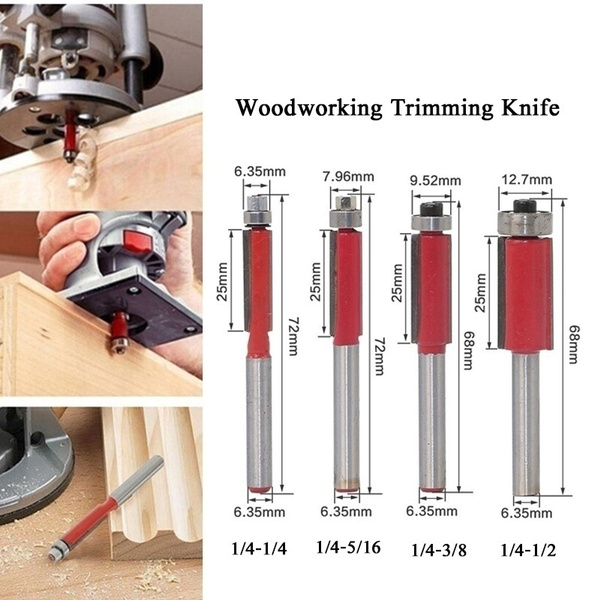 Woodworking Trimming Knife 1 4 Shank Top Bottom Bearing Flush Trim Router Bit For Woodworking Power Tools Trimming Tool Woodworking Milling Cutter