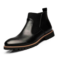 Leather Boots, Winter, roundhead, leather