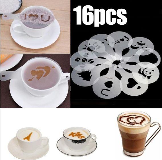 DIY 16 Pcs/Lot Coffee Latte Mold Dusting Pad Printing Model Latte  Cappuccino Mold
