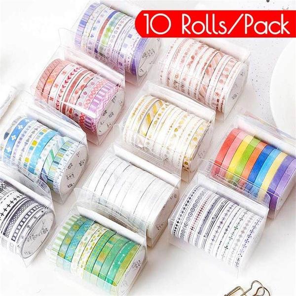 Tape Diary Decoration Self Adhesive Masking DIY Washi Sticker Craft 10 Rolls