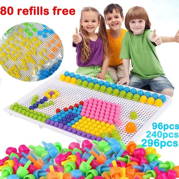 Creative Puzzle Peg Board with 296 Pegs Kids Toddler Educational Toys Xmas