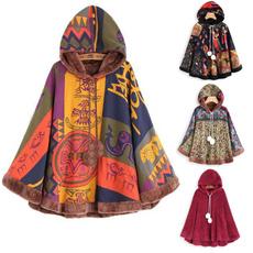 Women's Vintage Clothing, Casual Jackets, Flanela, hooded