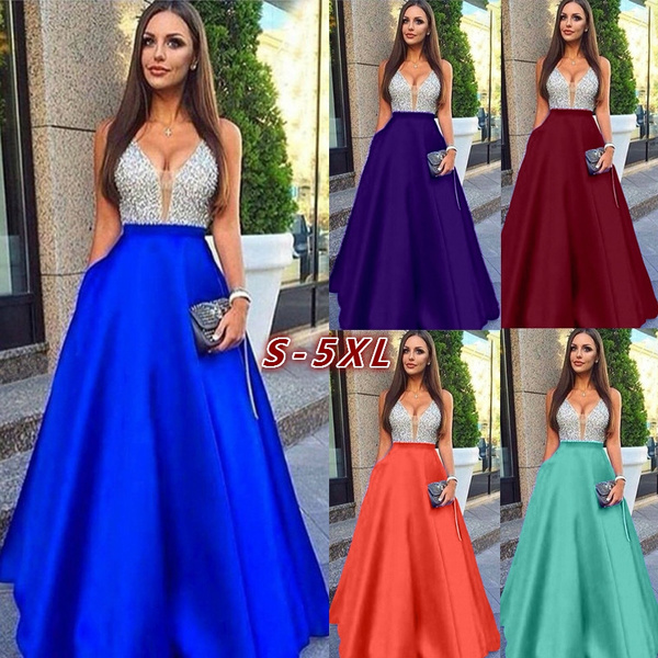 Long Prom Dresses 2019 A Line High Waist Sexy Deep V Neck Shiny Beaded Satin Royal Blue Women Formal Party Dresses Evening Gowns 5 Colors Plus Size