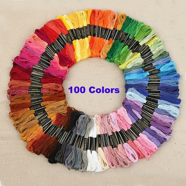 24/50/100 Colors Hand Cross Stitch Floss Sewing Skeins Craft Embroidery Knitting Thread by Wish