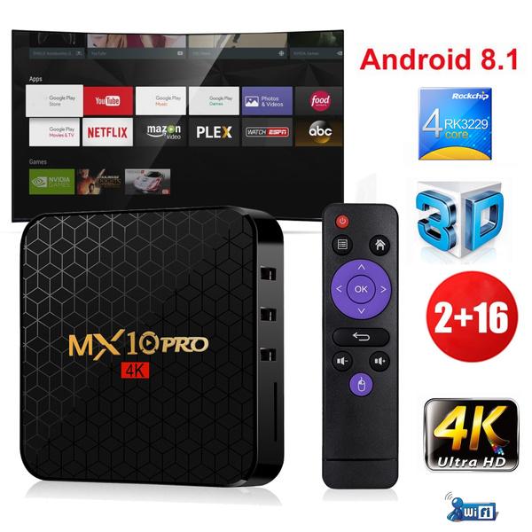 2G 16G Android 8 1 0 Quad Core MX10Pro Smart TV BOX HDR10 WIFI MINI PC 4K  3D Movies Films