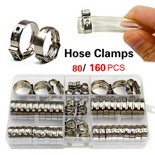 Stepless One Ear Clamp Band 7.0-8.7mm Size Single Ear Hose Clamps 10 Pack