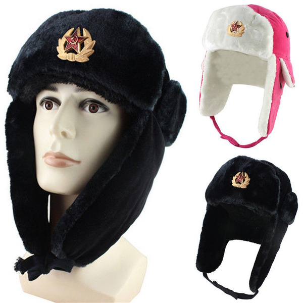 Russian Winter USHANKA FUR HAT White w Genuine USSR Soviet Army cap badge Size L