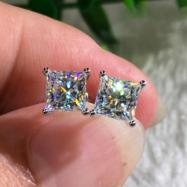 Fashion 18K White Gold Princess Cut Moissanite White Diamond Stud ...