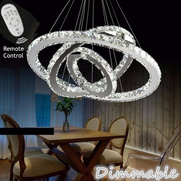 Dimmable Modern Crystal Led Ceiling Light Pendant Light Home Living Room Bedroom Tri Ring Chandelier Led Ceiling Lamp Light White