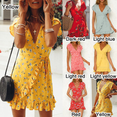 Deep V-Neck, Mini, Summer, Dress